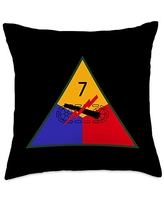 US Army 7th Armored Division Throw Pillow, 18x18, Multicolor