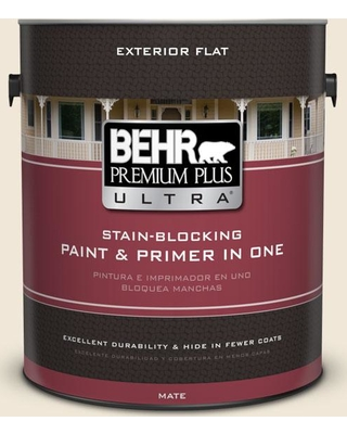 BEHR Premium Plus Ultra 1 gal. #710C-1 Parchment Paper Flat Exterior Paint and Primer in One