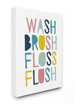 The Kids Room by Stupell Wash Brush Floss Flush Typography Stretched Canvas Wall Art, 16 x 1.5 x 20