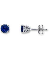 Natural Sapphire Earrings Diamond Accent 14K White Gold