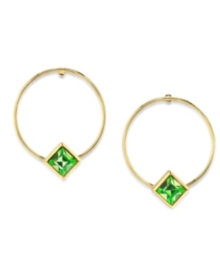2028 14K Gold Dipped Diamond Shape Crystal Hoop Stainless Steel Post Small Earrings