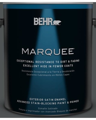 BEHR MARQUEE 1 gal. #PPU25-01 Carbon Copy Satin Enamel Exterior Paint and Primer in One