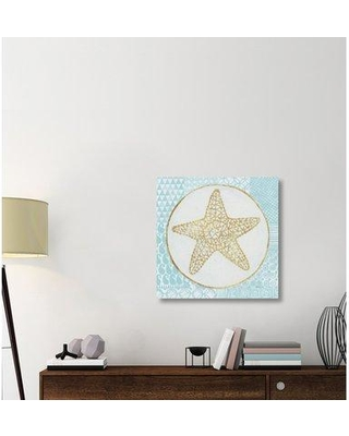 """East Urban Home 'Summer Shells IV Teal and Gold' Graphic Art Print on Canvas ERBR2006 Size: 30"""" H x 30"""" W x 1.5"""" D"""