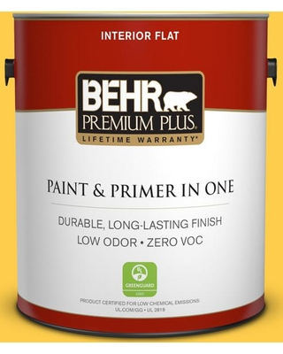 BEHR Premium Plus 1 gal. #360B-6 Flame Yellow Flat Low Odor Interior Paint and Primer in One