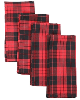 Holiday Plaid Napkins 20 by 20-Inch, Set of 4
