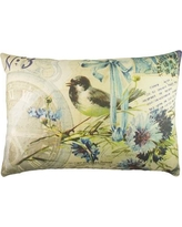TheWatsonShop Bird with Flowers Cotton Lumbar Pillow LUM_DFVBLUEPOSTBIRDNO3