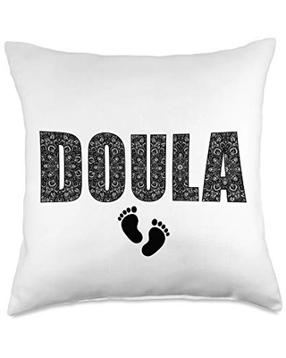Doula gift Tee Cute Life Floral Accent Gift idea Doula Throw Pillow, 18x18, Multicolor