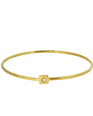 Yvonne Henderson Jewellery - Square Nugget Bangle with White Sapphire Gold