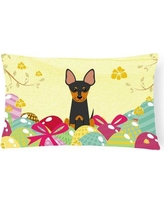The Holiday Aisle Easter Eggs English Toy Terrier Lumbar Pillow THLA4386