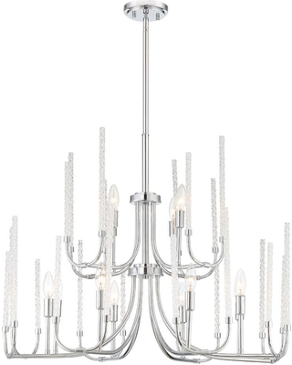 Designers Fountain Laretto 12-Light Chrome Chandelier with Clear Twisted Glass Rods Shade