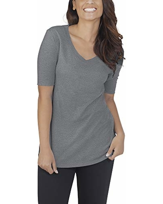 cb69430f Fruit of the Loom Women's Essentials All Day Elbow Length V-Neck T-Shirt