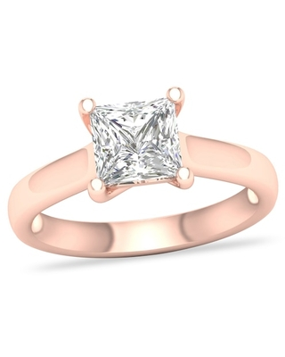 Jared Diamond Solitaire Ring 2 ct tw Princess-cut 14K Rose Gold