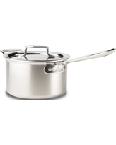 All-Clad BD55204 D5 Brushed 18/10 Stainless Steel 5-Ply Bonded Dishwasher Safe Sauce Pan with Lid Cookware, 4-Quart, Silver
