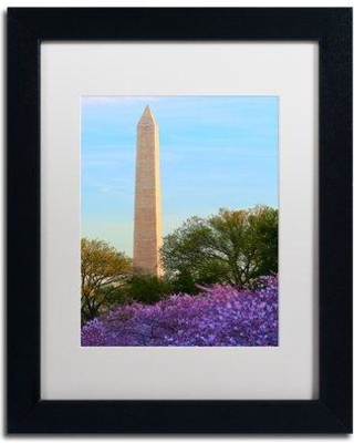 """Trademark Art 'Washington Monument Spring' by CATeyes Framed Photographic Print MZ0381-B1 Size: 20"""" H x 16"""" W x 0.5"""" D Matte Color: White"""