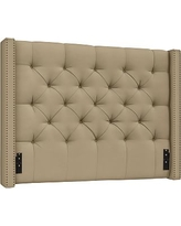 Harper Upholstered Tufted Low Headboard, California King, Performance Everydaysuede(TM) Light Wheat