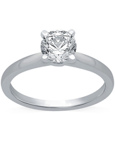 Ever Star Womens 1 CT. T.W. Lab Grown White Diamond 10K White Gold Round Solitaire Engagement Ring, 6 , No Color Family