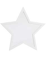 NoJo Star Shaped Mirror - Easy Hang Shatter Proof Mirror, Wooden Backed Decorative Mirror for Nursery, Kids Bedroom or Playroom, White