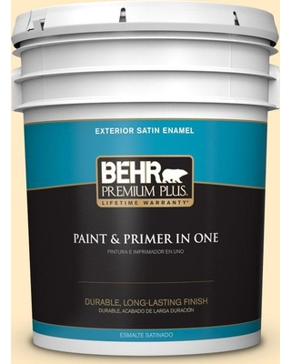 BEHR Premium Plus 5 gal. #330A-2 Frosted Lemon Satin Enamel Exterior Paint and Primer in One
