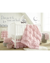 Levtex Baby - Willow Crib Bed Set - Baby Nursery Set - Pink - Soft Rosette Pintuck - 5 Piece Set Includes Quilt, Fitted Sheet, Diaper Stacker, Wall Decal & Crib Skirt/Dust Ruffle