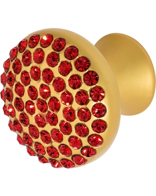 Wisdom Stone Vivacite 1-1/4 in. Satin Gold with Red Crystal Cabinet Knob