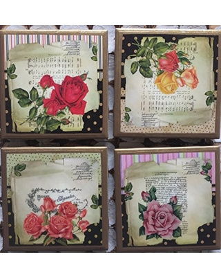 Coasters! Whimsical rose coasters with gold trim