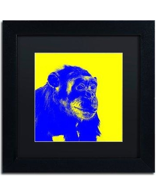 "Trademark Art 'Chimp No 2' Framed Graphic Art Print CDO0151-B1 Matte Color: Black Size: 11"" H x 11"" W x 0.5"" D"