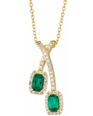 """""""14K Yellow Gold over Sterling Silver Lab-Created Emerald & White Sapphire Pendant Necklace, Women's, Size: 18"""", Green"""""""