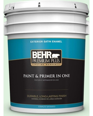 BEHR Premium Plus 5 gal. #P400-1 Mischievous Satin Enamel Exterior Paint and Primer in One
