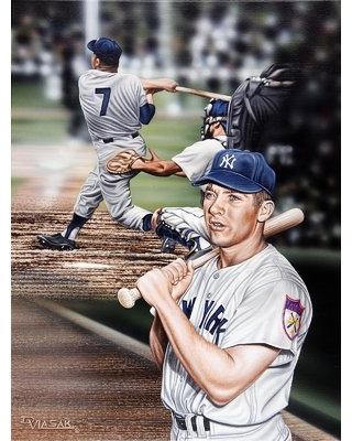 Mickey Mantle the Mick Artwork by Darryl Vlasak Painting Print on Wrapped Canvas