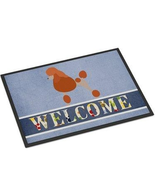 """East Urban Home Poodle Welcome Non-Slip Outdoor Door Mat EUME8759 Mat Size: Rectangle 1'6"""" x 2'3"""""""