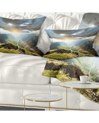 Designart 'Stunning View of Sunset in Mountains' Landscape Printed Throw Pillow (Rectangle - 12 in. x 20 in. - Medium)