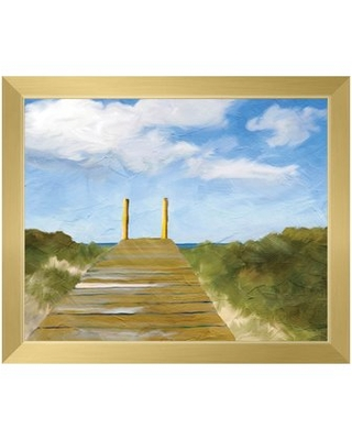 """'Path to the Beach' Picture Frame Print on Canvas Click Wall Art Format: Gold Framed, Size: 18.5"""" H x 22.5"""" W"""