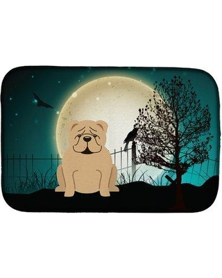 The Holiday Aisle SandpiperCove Halloween Scary English Bulldog Drying Mat HDAY2061 Finish: Beige