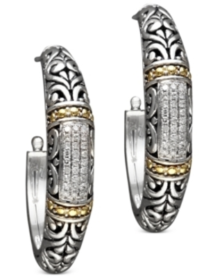 Balissima by Effy Diamond Hoop Earrings (1/4 ct. t.w.) in 18k Gold and Sterling Silver