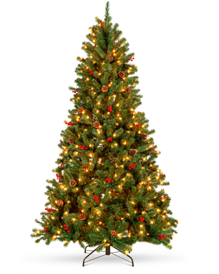 Best Choice Products 9ft Pre-Lit Pre-Decorated Holiday Spruce Christmas Pine Tree w/ 2,128 Tips, 900 Lights, Metal Base - 9ft