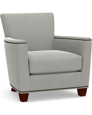 Irving Square Arm Upholstered Armchair with Bronze Nailheads, Polyester Wrapped Cushions, Performance Everydaysuede(TM) Metal Gray