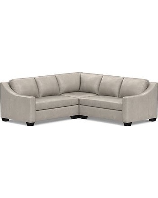 York Slope Arm Leather 3-Piece L-Shaped Corner Sectional, Down Blend Wrapped Cushions, Statesville Pebble