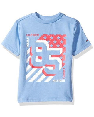 Tommy Hilfiger Little Boys' Short Sleeve Graphic T-Shirt, Blue Dream Heather, 6