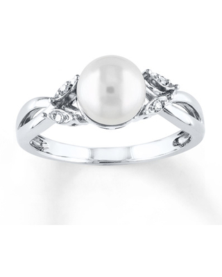dd36b45f7 Amazing New Deals on Cultured Pearl Ring With Diamonds 10K White Gold