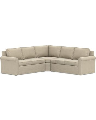 Cameron Roll Arm Slipcovered 3-Piece L-Shaped Wedge Sectional, Polyester Wrapped Cushions, Sunbrella(R) Performance Chenille Cloud