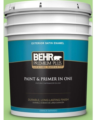 BEHR Premium Plus 5 gal. #430B-4 Peas in a Pod Satin Enamel Exterior Paint and Primer in One