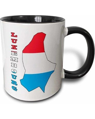 East Urban Home The Flag of Luxembourg in the Outline Map of the Country and Name Luxembourg Coffee Mug W001072973 Color: Black