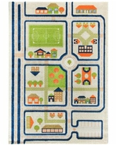 """Ivi Traffic 3D Childrens Play Mat & Rug in A Colorful Town Design with Soccer Field, Car Park & Roads - 90""""L x 63""""W - Blue"""