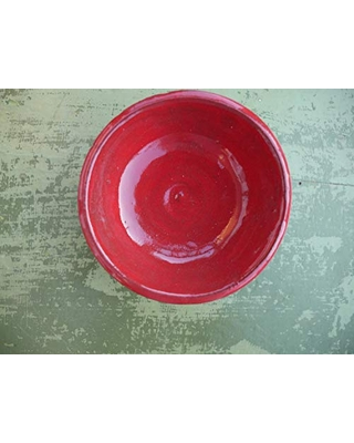 Small Animal Food Dish or Water Bowl Red Glazed Pottery for Chinchillas, Rats, Guinea Pigs, Hedgehogs, Ferrets, Bearded Dragons