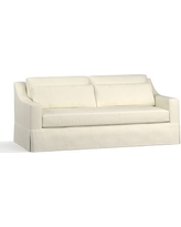 "York Slope Arm Slipcovered Deep Seat Sofa 80"" with Bench Cushion, Down Blend Wrapped Cushions, Premium Performance Basketweave Ivory"
