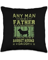 Dogs 365 Basset Hound Dog Daddy Gift for Men Throw Pillow, 16x16, Multicolor
