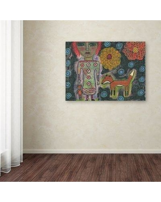 "Trademark Fine Art Funked Up Art 'Girl with Fox' Print on Wrapped Canvas ALI12983-C Size: 24"" H x 32"" W"