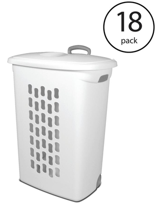 Sterilite White Laundry Hamper With Lift-Top, Wheels, And Pull Handle (18-Pack)