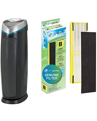 Germ Guardian AC4825 Air Purifier Bundle with FLT4825 True HEPA Replacement Filter, Quietly Filters Allergies, Pollen, Smoke, Dust, Pet Dander, Mold,Odors, UV Light Sanitizer Eliminates Germs, 22 in.