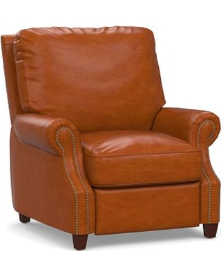 James Leather Power Tech Recliner, Down Blend Wrapped Cushions, Legacy Dark Caramel